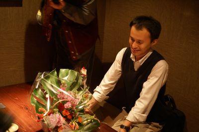 花籠と横山先生